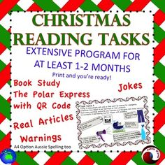12 individual, illustrated Reading Comprehension Task Cards to use in your Literacy Center. A  Christmas Reading Program for two month at least! Print, laminate, no more to do!These tasks are varied,creative and FUN!I think these tasks will encourage students to think deeply and help them make connections between their experiences, knowledge and what they read.