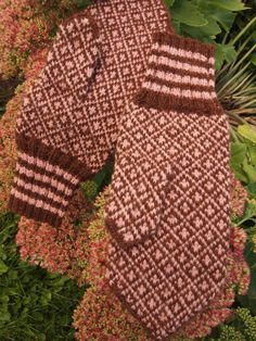 Finely Hand Knitted Estonian Mittens in Brown and door NordicMittens