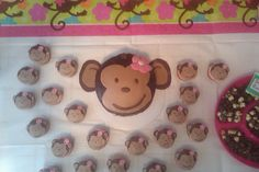 Girl monkey cake and cupcakes