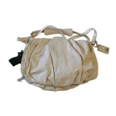 """$99.83 Concealed Carry Pleated Gathered Leather Bag """"Glacier"""" - Ivory Pearl - Now you can own a concealed carry handbag that not only looks smart, but has these smart features: SAFETY: Concealment purse pocket with locking zipper and structured holster for trigger protection and added stability. Elastic strap with Velcro tab secures various sizes, shapes, and types of weapons. SECURITY: External s ..."""