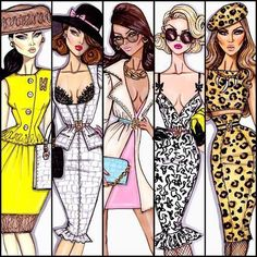 Fantastic fashion ladies in different outfits;  caricature!