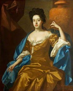 Mary Wynter, Mrs. William Blathwayt I ~ ca1689-91, Michael Dahl I (she seems to be wearing on the back of her head a very fine lace or net veil, or something like that, in Gold thread to match her dress)