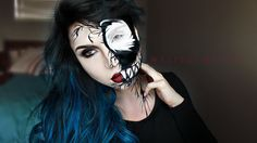 Halloween makeup. Venom face from spiderman. Super easy just used black and white facepaint and eyeliner for details