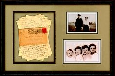 Old family photos, family heirlooms and collections can be the most meaningful items you can frame, such as the items we've framed here. A perfect way to remember a special loved one! #customframing #memories #keepsakes