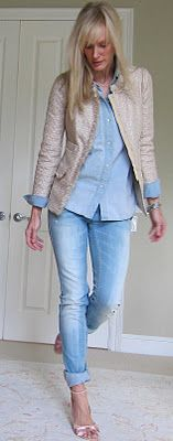 I like this beige jacket with trim with light blue denim shirt and darker jeans