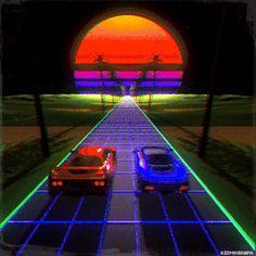 Vaporwave GIF by storm artёm. Discover all images by storm artёm. Find more awesome vaporwave images on PicsArt. Game Design, 80s Design, Graphic Design, Design Color, Retro Kunst, Retro Art, New Retro Wave, Retro Waves, Aesthetic Gif