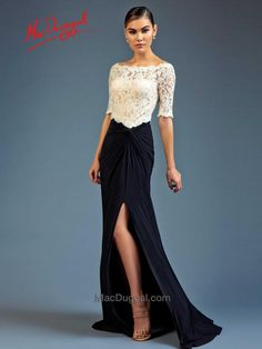 This off the shoulder boat neck dress is a casual take on a formal dress. The top of the dress is white sheer lace half sleeve that is brought together by a black jersey skirt. The skirt is knotted at the waist with a high slit revealing just the right amount of leg. Wow them from behind with a sweep train following every step. 80505D