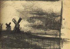 Mills in the Neighbourhood of Dordrecht - Vincent van GoghCompletion Date: 1877 Place of Creation: Dordrecht / Dort / Krispijn, Netherlands Style: Realism Genre: sketch and study Technique: pencil Material: paper Gallery: Van Gogh Museum, Amsterdam, Netherlands