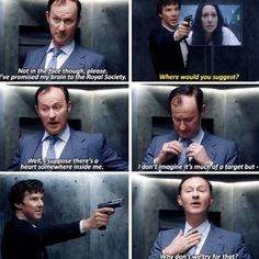 "This was tense, I really did think for a minute Sherlock was going to do it, but when Mycroft said he's leaving his brain to the Royal Society I said ""Of course you are. Bastard."""
