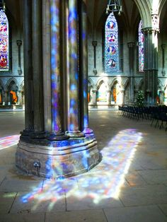 Sunlight through stained glass. Lincoln Cathedral.