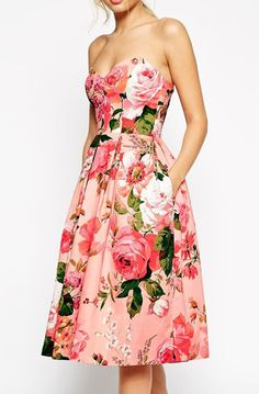Lovely Clusters Boutique: ASOS SALON Pinky Rose Bandeau Midi Prom Dress