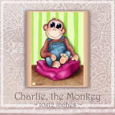Art Print by Hattifant: Charlie, the monkey
