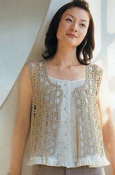 Crochet Lace Summer Vest Top Blouse Pattern - Japanese Knitting Book Pattern - #3025-07