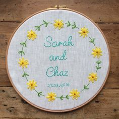 Hey, I found this really awesome Etsy listing at https://www.etsy.com/au/listing/476849857/personalised-wedding-embroidery-hoop
