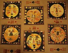African Masks. Spray liquid watercolor (like the kindie suns we did) to yellow paper and add features with painted paper.