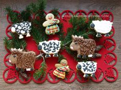 Highland Christmas Cookies from Outlander Kitchen. Kilted men, sheep and coos. Cute Christmas Cookies, Christmas Baking, Christmas Ornaments, Christmas Ideas, Tartan Christmas, Christmas Biscuits, Christmas Foods, Holiday Cookies, Christmas Recipes