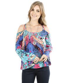 Blusa Open Shoulder Tropical Azul - cea