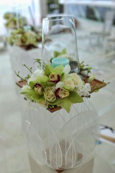 aisle arrangement with aqua candles