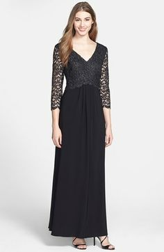 Patra Metallic Lace & Jersey Gown available at #Nordstrom