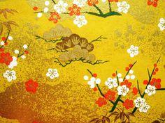 Yuzen washi, flowers and clouds pattern. Japanese Paper, Japanese Fabric, Vintage Japanese, Japanese Patterns, Japanese Design, Washi, Papier Diy, Clouds Pattern, Japanese Illustration