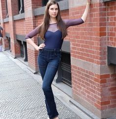 Navy sweetheart leotard with high waisted jeans