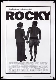 Iconic Movie Posters, Original Movie Posters, Iconic Movies, Film Posters, Rocky Balboa, Rocky And Adrian, Rocky 1976, Rocky Poster, Stars