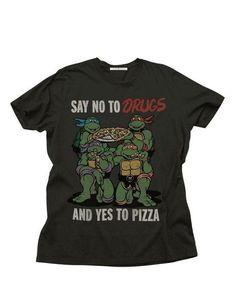 33eb37e86fd00 Junk Food TMNT Teenage Mutant Ninja Turtles Yes To Pizza Adult Black T-Shirt  Ninja