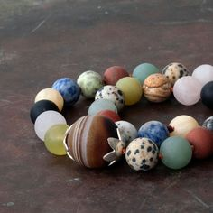 Genuine Multi Gemstone Beaded Necklace, Knotted Chunky Multi-color Necklace, Statement Necklace, Fashion Necklace, Wearable Art Jewelry