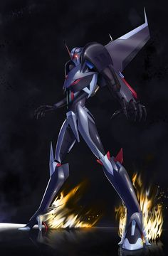 "jarofloosescrews: "" @peachcanwrite - I said I'd do it. I did it. Took a while. But it was a must-draw. In response to this post. Starscream in flaming heels. You know it makes sense. Note: My..."