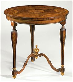 English style occasional table inlaid with walnut, olive burl and boxwood, antique gold-leaf trim; made in Italy Painting Wooden Furniture, Fine Furniture, Unique Furniture, Rustic Furniture, Vintage Furniture, Furniture Design, Outdoor Furniture, Furniture Stores, Furniture Projects