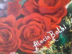 Oleo sobre tela Jarra prata com rosas por Alacir Balbi