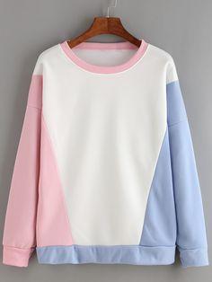 Sudadera manga larga color combinado -rosa Cute Comfy Outfits, Cute Girl Outfits, Cool Outfits, Sports Mom Shirts, Crop Top Sweater, Kpop Fashion Outfits, Cute Sweatshirts, Kawaii Clothes, Sweat Shirt