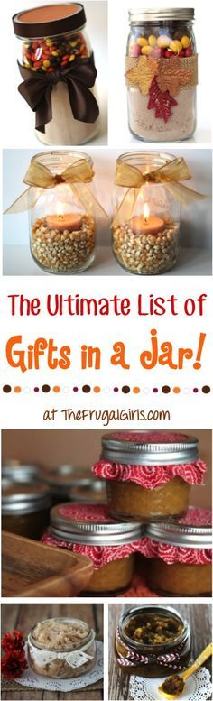 101 Gifts in a Jar Recipes! {Fun Homemade Mason Jar Gifts} Ultimate List of Homemade Gifts in Jars Recipes! This massive collection of Gifts in a Jar Recipes are easy to make, fun. Mason Jar Meals, Mason Jar Gifts, Meals In A Jar, Mason Jars, Gift Jars, Gifts In Jars, Candle Jars, Food Gifts, Craft Gifts