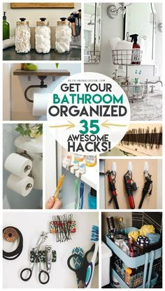 get your bathroom completely organized with these 35 awesome hacks to whip your space into shape!get your bathroom completely organized with these 35 awesome hacks to whip your space into shape! Organisation Hacks, Organizing Hacks, Organizing Your Home, Storage Organization, Cleaning Hacks, Small Home Organization, Bathroom Counter Organization, Organising, Dollar Tree Organization