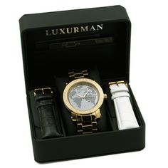 Luxurman Men's Gold-Tone Stainless Steel World Map Dial Diamond Accent Watch   Overstock™ Shopping - Big Discounts on More Brands Men's Watches