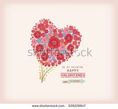 Valentines day card. Bright flowers in shape of heart
