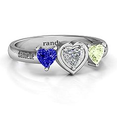 Heart Stone with Twin Heart Accents Mother's Ring #jewlr