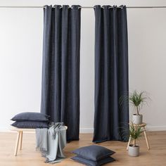 Super soft to touch, and crafted from prewashed heavyweight linen fabric with a lovely, flowy drape, these curtains have 8 eyelet holes for simple hanging! Blue Curtains, Grommet Curtains, Linen Curtains, Curtain Fabric, Bedroom Curtains, Linen Fabric, Linen Bedroom, Bath Linens, Awesome Bedrooms
