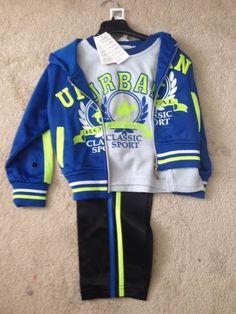 3 piece boys track set Little Sport, Blue Band, Hoodies, Sweatshirts, Blue Stripes, Neck T Shirt, 3 Piece, Royal Blue, Motorcycle Jacket