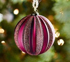 Pottery Barn Magenta Glitter Striped Glass Ornament 2.99