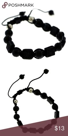 Black adjustable strap bracelet black shamballa Black adjustable strap bracelet with black shamballa beads and a square shaped bead with rhinestone accents 48B9668-BLACK Mi Amore Jewelry Bracelets