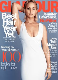Jennifer Lawrence wears a white gown on Glamour Magazine February 2016 cover