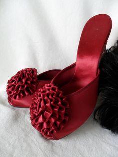 Vintage Burgundy Daniel Green Satin Hostess Shoes or by yeoldewish, $89.00