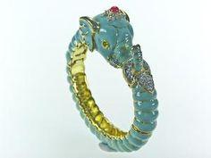 Polished Gold Turquoise Enamel Elephant Bracelet from www.wellappointedhouse.com