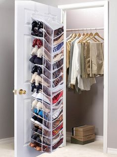 Shoes storage - transparent textile shelves #shoes #closet #organization #storage