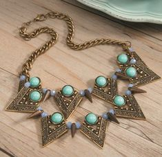 Triangle Spike Statement Necklace