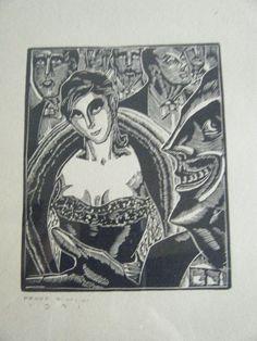 Vintage E M Washington Woodblock Linocut Print Weimar Republic Style Gowned Lady #WeimarRepublic