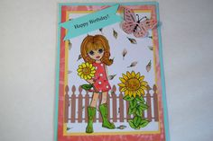 Handmade Birthday Card  Flower Power Emma  Stamped by Smiles4Paper