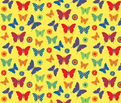 sj butterflies yellow fabric by sadiejdesigns on Spoonflower - custom fabric