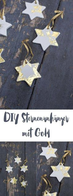 DIY star pendant with gold - Christmas tree pendant craft .- DIY Sternenanhänger mit Gold – Weihnachtsbaumanhänger basteln DIY Star Pendant with Gold – DIY Christmas Tree Ornaments or Gift Tags – Crafting with modeling clay - Diy Christmas Tree Ornaments, Clay Christmas Decorations, How To Make Christmas Tree, Gold Christmas Tree, Christmas Crafts, Xmas, Simple Christmas, Halloween Decorations, Gold Ornaments